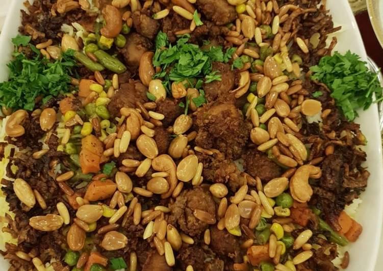 الصورة الرئيسية لوصفةصدور الدجاج المقلي مع رز بالخضار