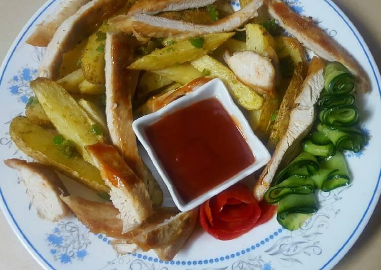 الصورة الرئيسية لوصفةصدور دجاج مع بطاطس مقلية