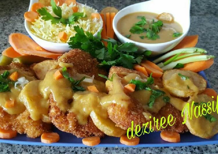 الصورة الرئيسية لوصفةاسكالوب الدجاج مع صوص العسل والصويا صوص